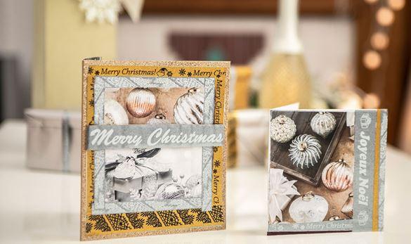 Käsintehty joulukortti, johon on käytetty kimaltavaa hopeanväristä tarranauhaa