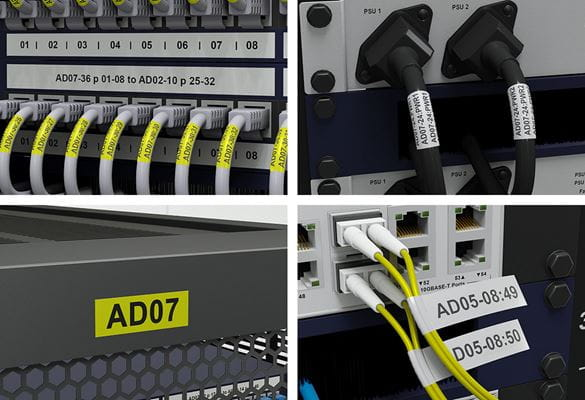 Brother Pro Tapes for network patch panel, rack, equipment and cable identification