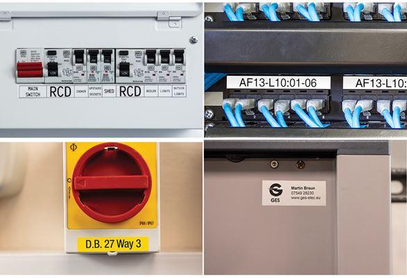 Nettverksporter på et patchpanel identifisert med Brother tape med sterkt lim