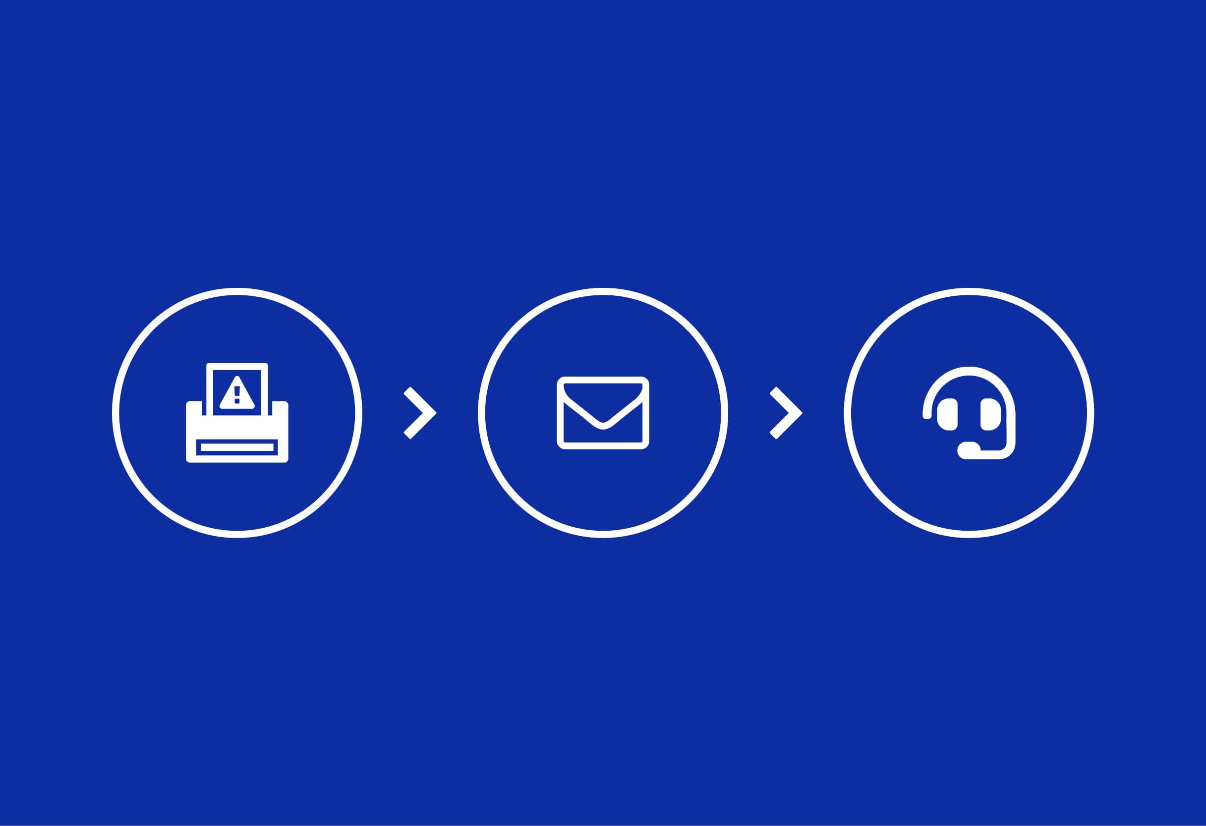 Skriver ikon e-post ikon hodetelefon ikon
