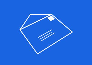 Ikon av en konvolutt på blå bakgrunn