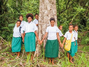 Cool Earth school girls holding hands around a tree in the rainforest