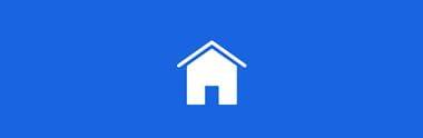 Ikon av et hvitt hus med på blå bakgrunn