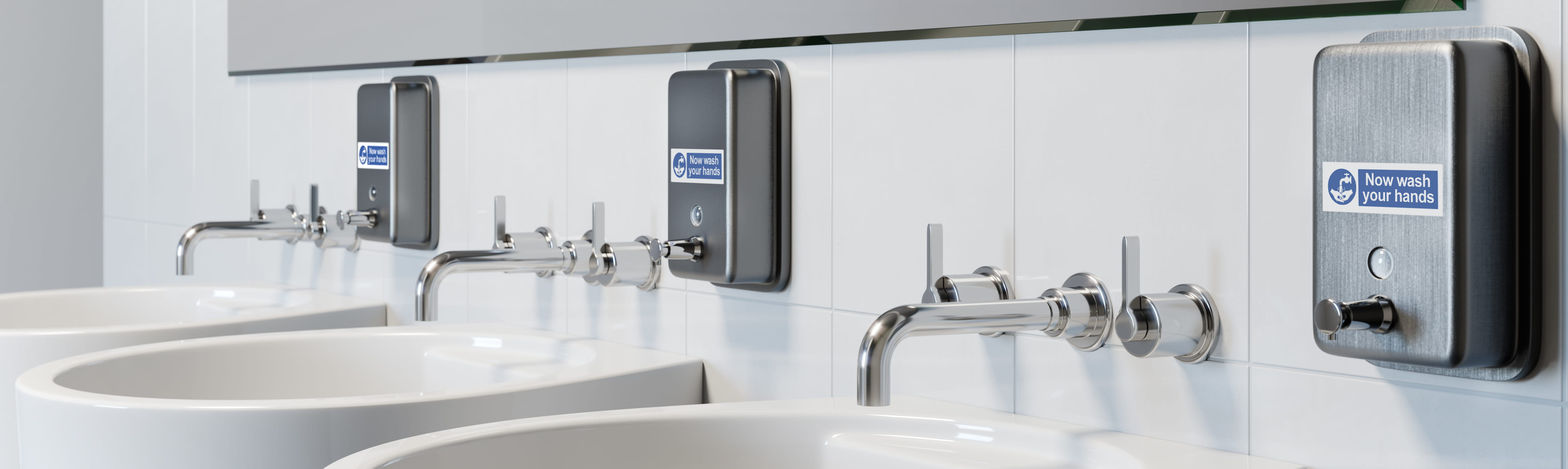 Three basins in bathroom with brother p-touch labels