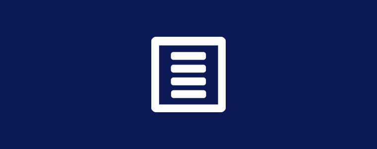 Blå bakgrunn med hvitt ikon for skjema