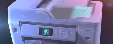 Brother MFCJ6947DW profesjonell A3 og A4 blekkskriver med hengelåsikon på berøringsskjermen