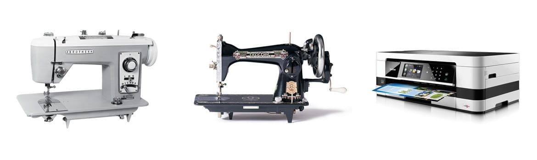 To gamle Brother symaskiner og en mer moderne multifunksjon farge blekkskriver