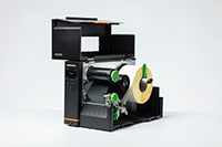 Brother TJ industrial label printer open with media inside