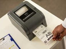 Label printed on a Brother TD-4D series label printer.