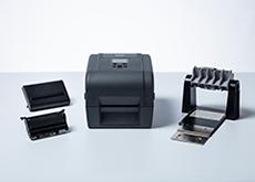 TD-4T-tulostin, tarran taustapaperin irrottaja ja ulkoinen rullapidike