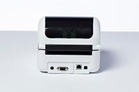 Back of Brother TD-4420 network desktop label printer showing network power vga ports