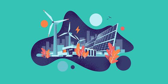 Piirroskuvassa näkyy rakennuksia, tuulivoimala, lehtiä ja aurinko