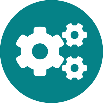 Three white cogs icon on teal circle background