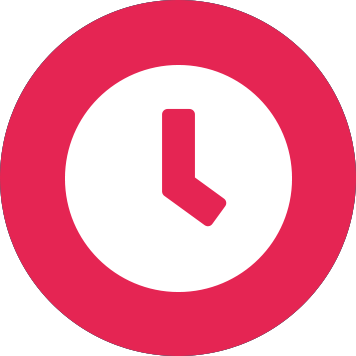 White clock icon on pink circle background