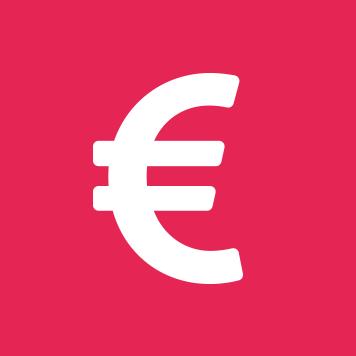 White Euro sign on crimson circle