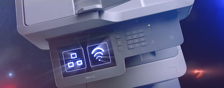 Brother MFC-L9570CDW professional multifunction printer with network and WiFi icon on touchscreen