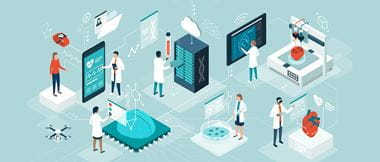 Illustration of doctors and researchers using innovative technologies for medicine and healthcare safety
