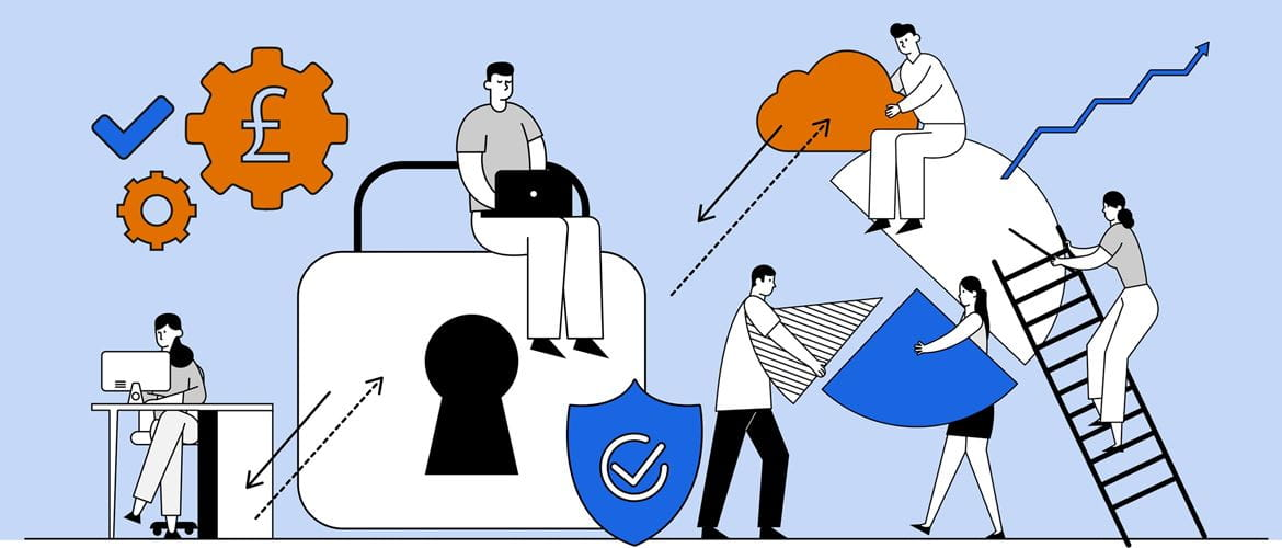 Illustration of six people working amongst several cloud security icons and chart elements to represent how hybrid working is it changing the face of business IT security