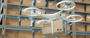Drones carry express packages in warehouses