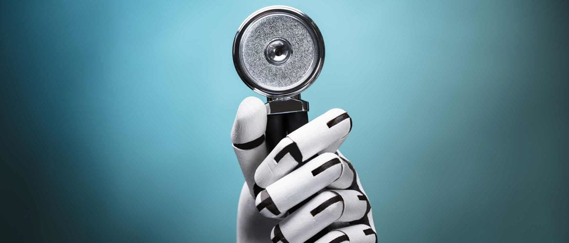 Close-up Of A Robot's Hand Holding Stethoscope