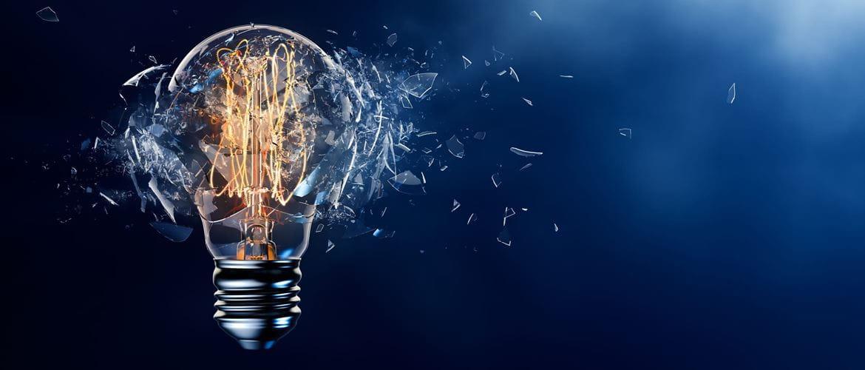 Still frame of an exploding light bulb, to highlight a new idea