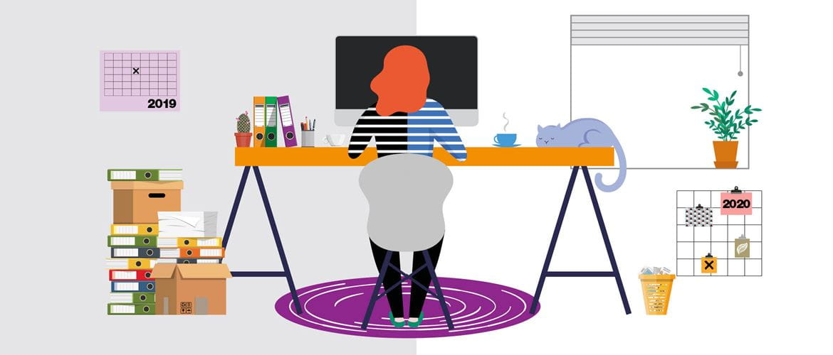 Illustration of a lady working at a trestle desk in a home office environment