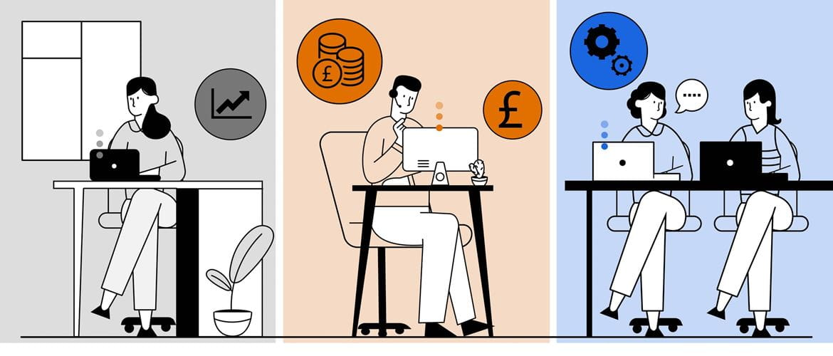 Illustration of three hybrid working scenarios - a lady working in a home environment, a man on a call at a helpdesk and two female colleagues having a discussion in an office environment