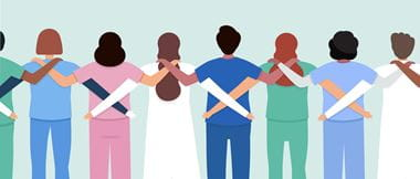 Illustration of the backs of a medical team in a row with their arms on each others shoulders to signify unity