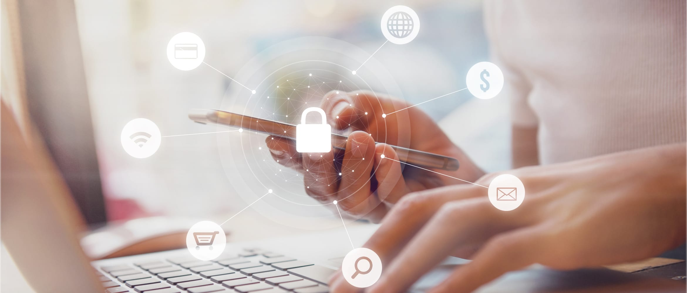 image of woman using a laptop and smartphone with security icons overlaid