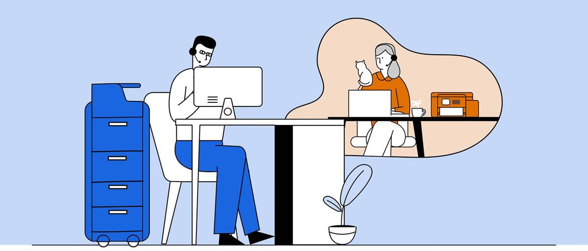 Illustration of a man working next to a large printer in an office environment, working with a woman shown in a bubble, who is working from home with her cat