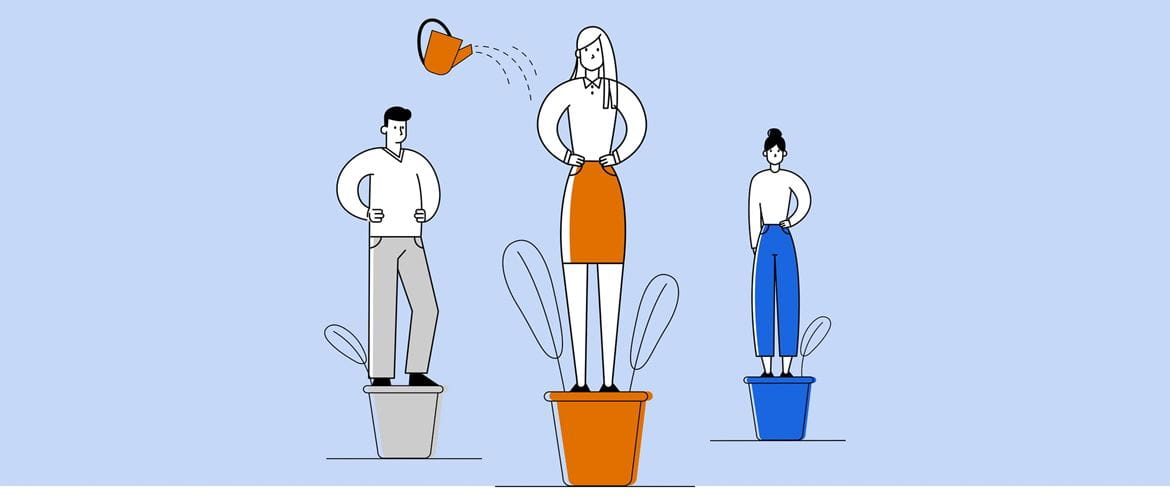 Illustration of two women and a man standing on plant pots, a watering can is sprinkling water over the lady who is in the middle and in the foreground