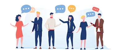 Illustration of a group of people with speech bubbles to represent networking at a business conference