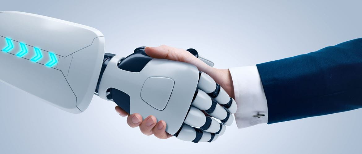White robotic arm shakes hand of a small medium business owner