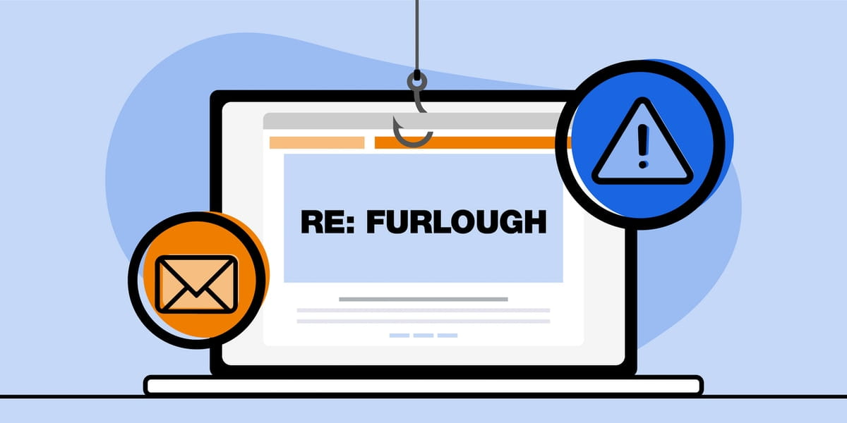 Illustration of a scam email displayed on a notebook computer screen that reads 'RE: Furlough'