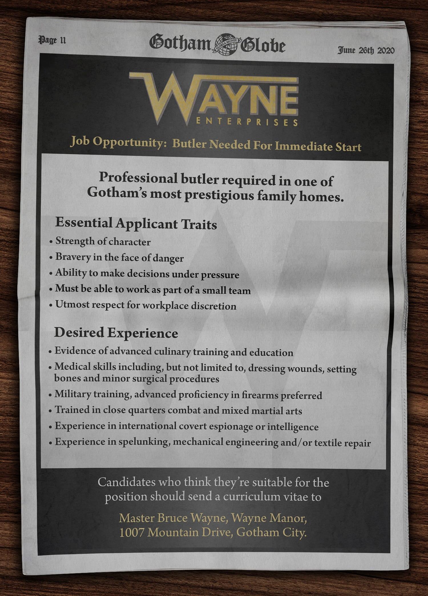 Fictional Batman recruitment poster - Wayne Enterprises advertisement for a professional butler in the Gotham Globe