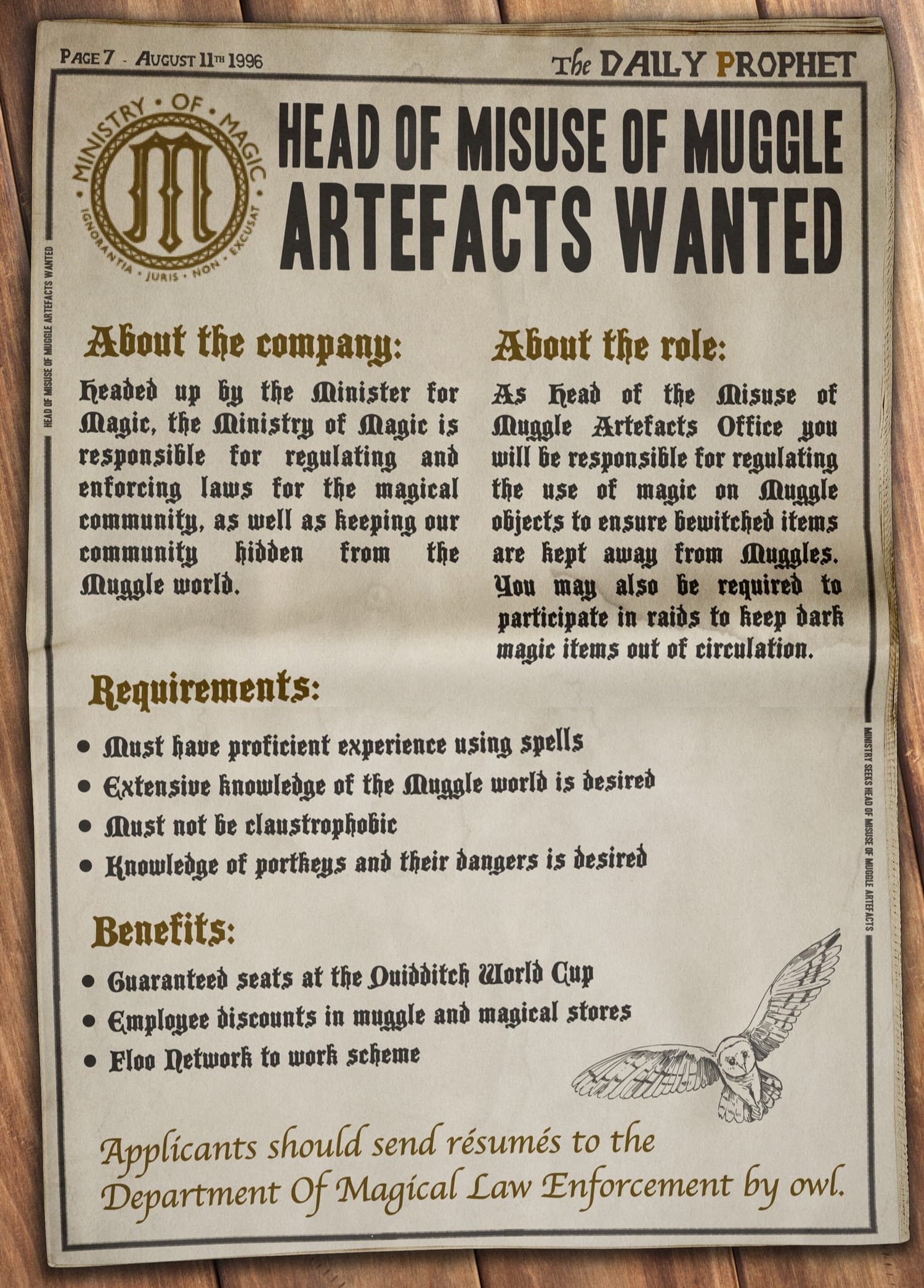Fictional Harry Potter recruitment poster - Ministry of Magic's advertisement for Head of Misuse of Muggle Artefacts in the Daily Prophet