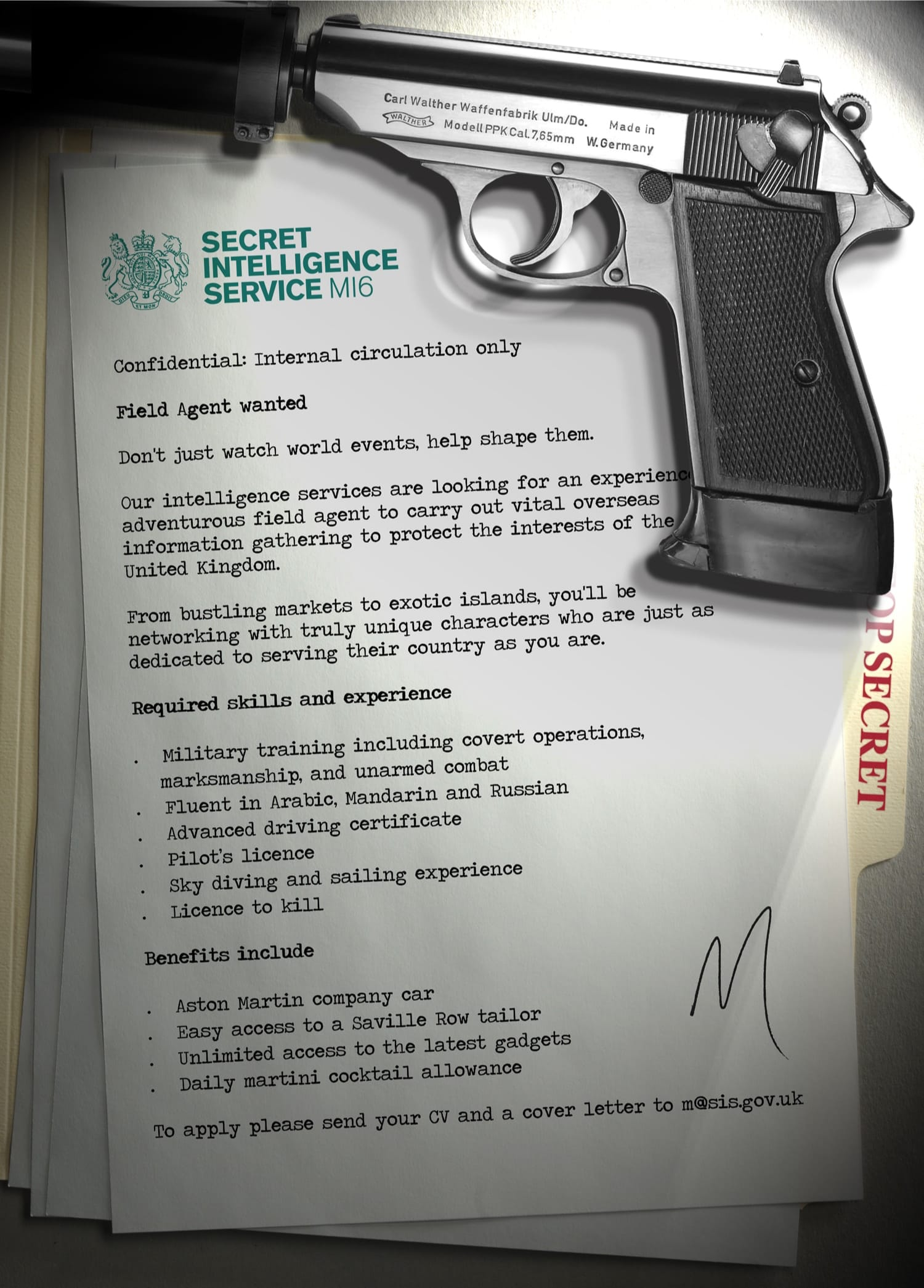 Fictional James Bond recruitment poster - Secret Intelligence Service MI6's internal advertisement for a field agent