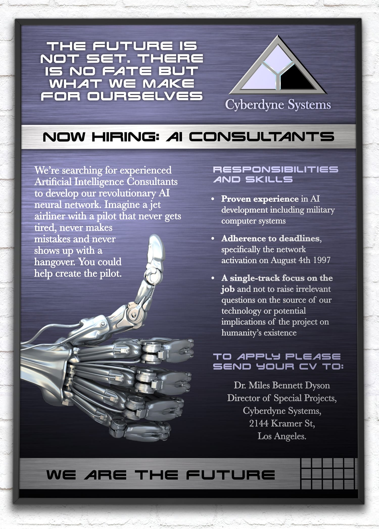 Fictional Terminator recruitment poster - Cyberdyne Systems advertisement for AI consultants