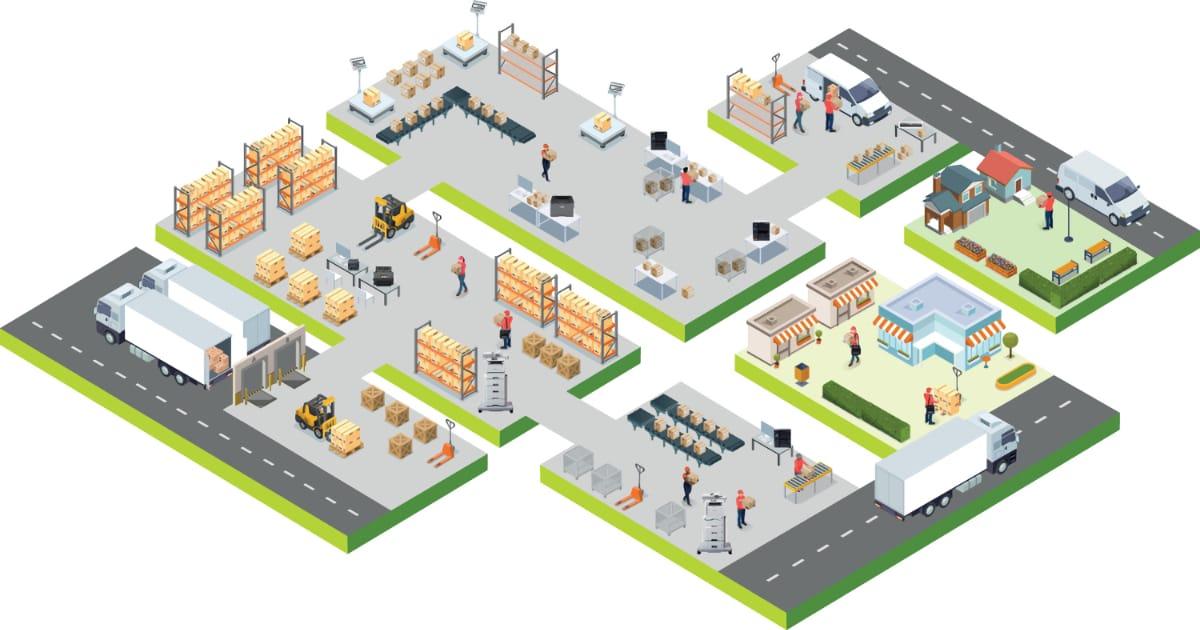 Illustration of transportation logistics solutions