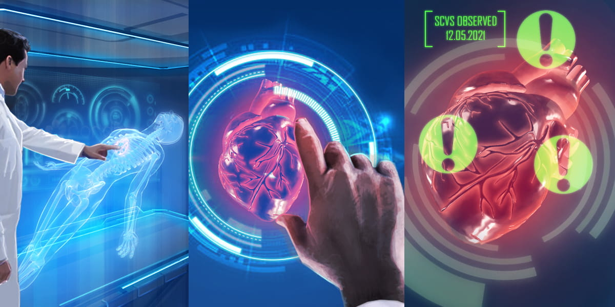future of healthcare, a doctor uses 3D holography to diagnose a patient