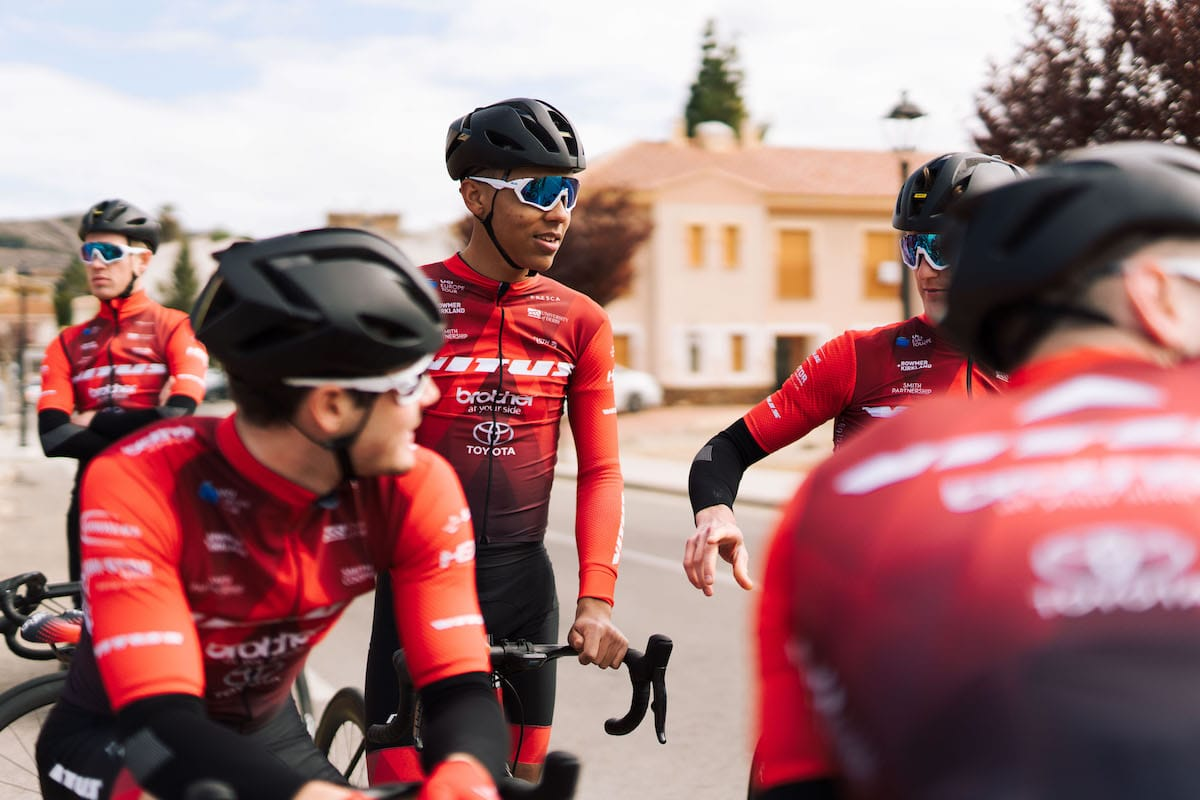 Red Walters preparing to set off on a training ride with team-mates