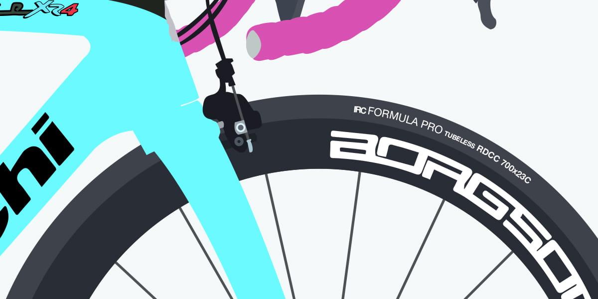 close up illustration of Team OnForm bike wheel