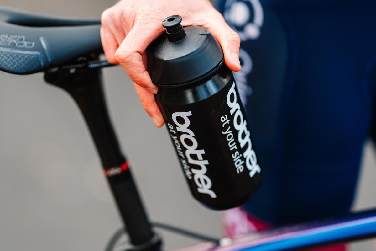 Close up of a Brother branded cycling water bottle