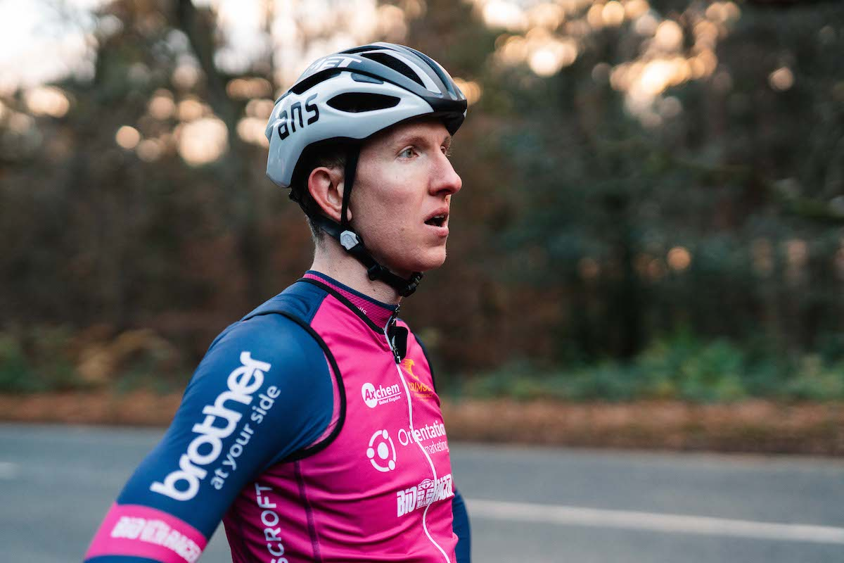 Matt Hallam of cycling team Crimson Performance with Brother branded clothing
