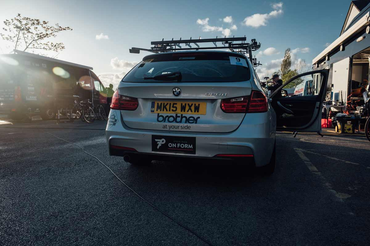 Cycling Team OnForm's Brother branded car