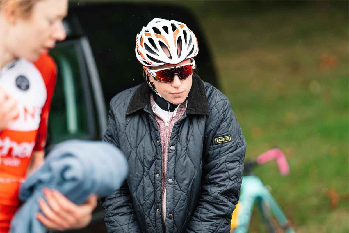 Fusion RT cyclists with Barbour jacket and helmet on