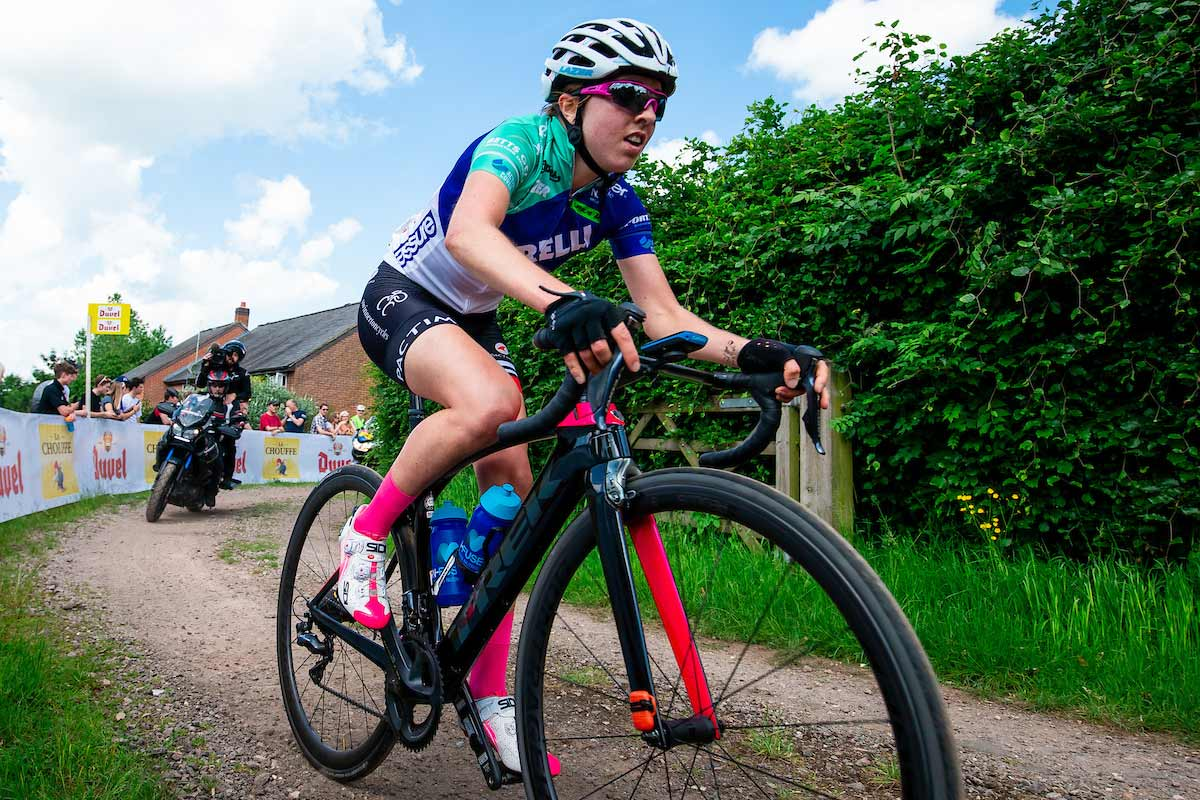 Close up of Sophie Wright and her bike during a cycling race