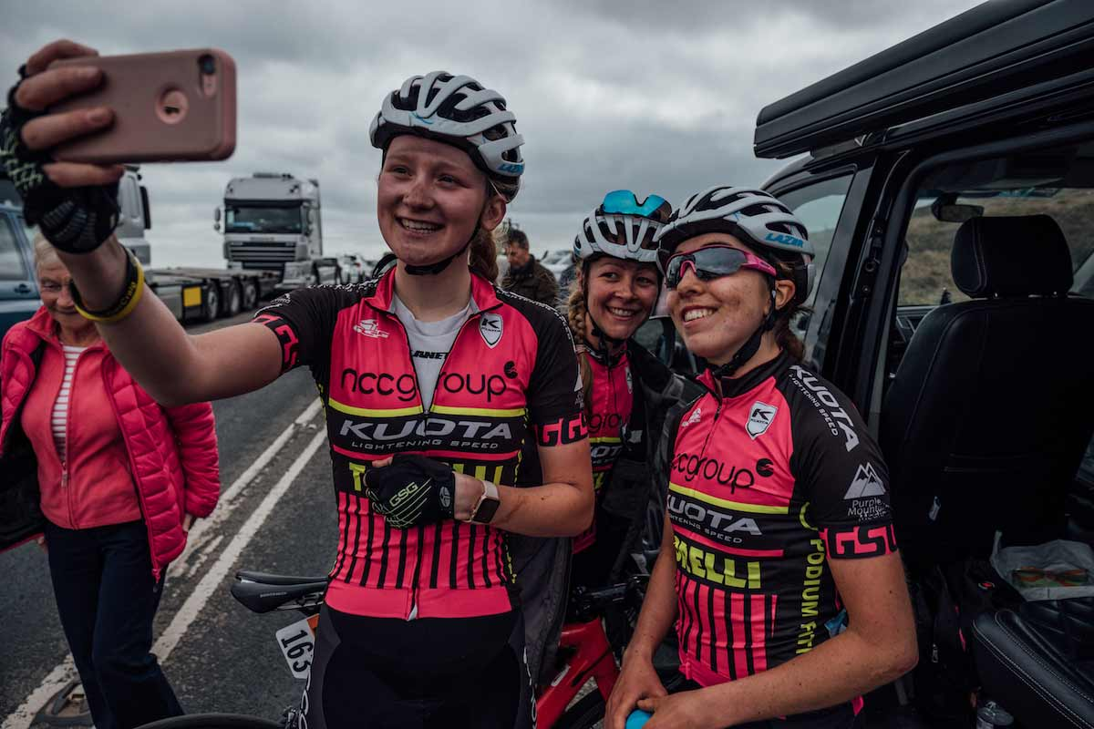 Group of cyclists taking a selfie