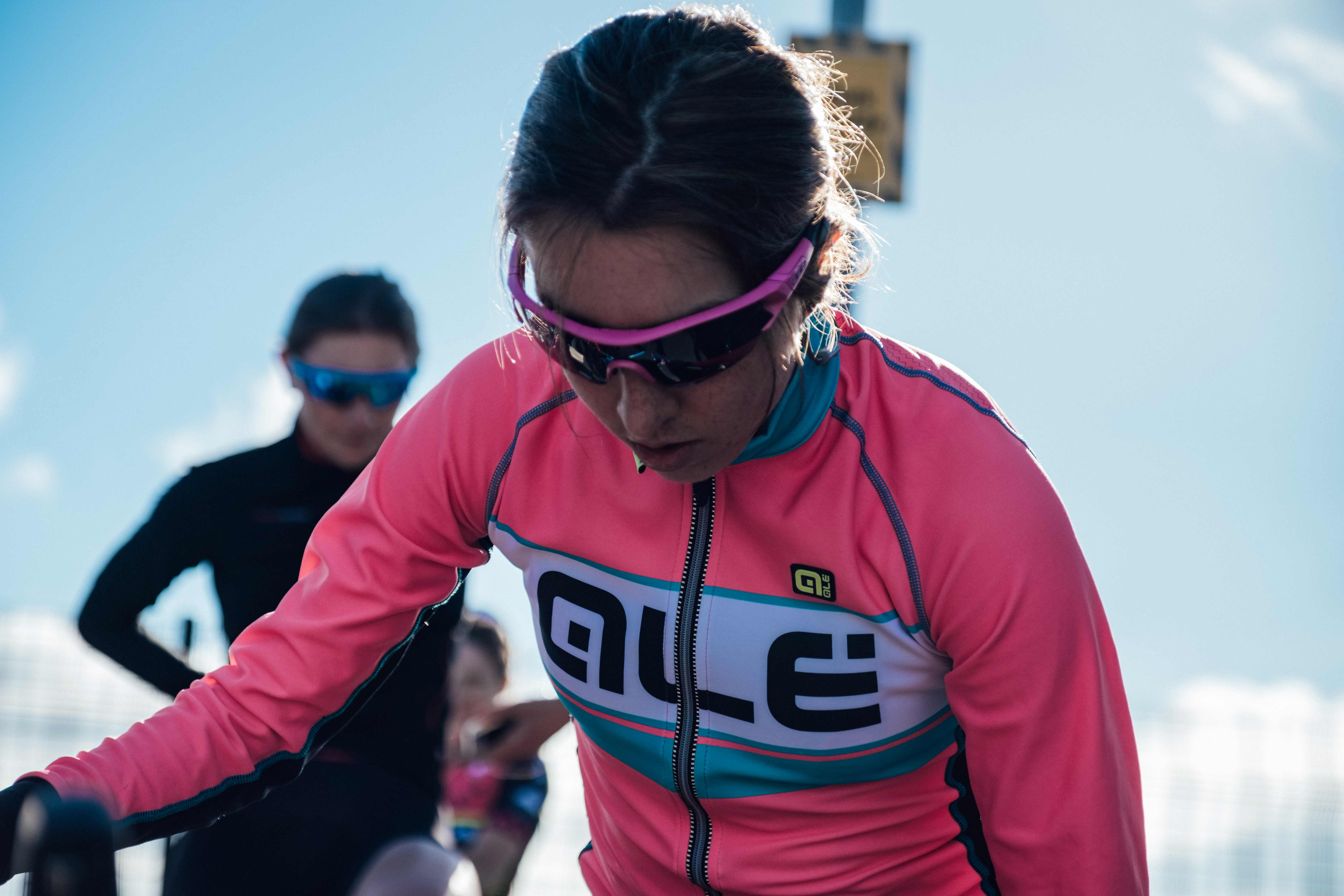 Sophie Wright kitted out in cycling gear