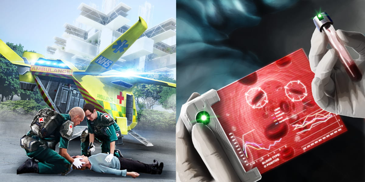 future of healthcare, air ambulance arrives and paramedic undertakes digital blood test